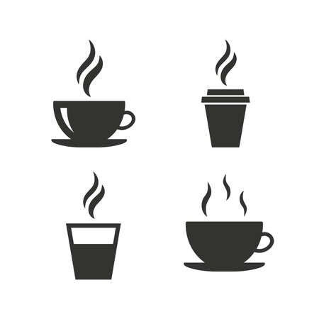 taza de te: Icono de la taza de caf�. Bebidas calientes gafas s�mbolos. Para llevar o para llevar se�ales de bebidas de t�. Iconos planos en blanco. Vector