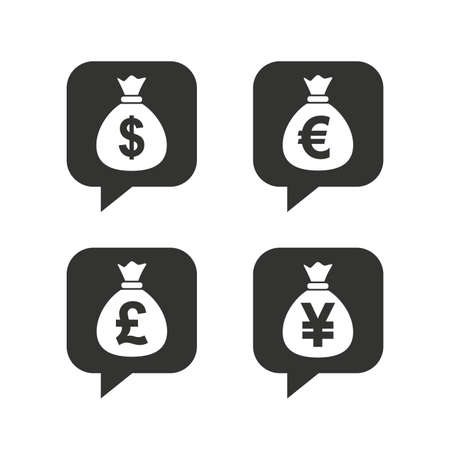 dollar bag: Money bag icons. Dollar, Euro, Pound and Yen speech bubbles symbols. USD, EUR, GBP and JPY currency signs. Flat icons on white. Vector