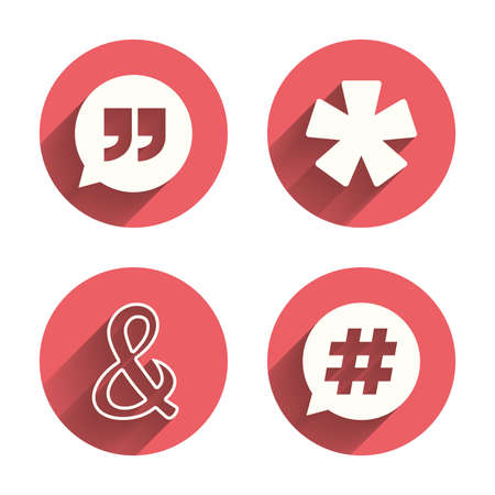 Quote, asterisk footnote icons. Hashtag social media and ampersand symbols. Programming logical operator AND sign. Speech bubble. Pink circles flat buttons with shadow. Vector