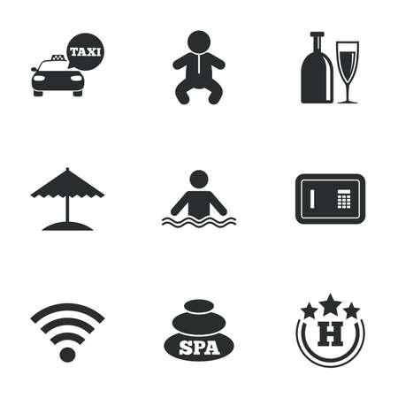 hotel pool: Hotel, apartment service icons. Spa, swimming pool signs. Alcohol drinks, wifi internet and safe symbols. Flat icons on white. Vector
