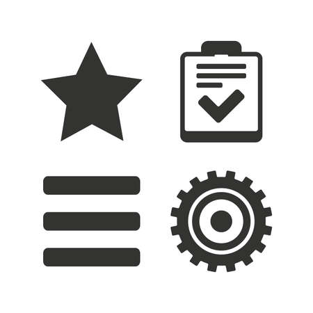 checklist: Star favorite and menu list icons. Checklist and cogwheel gear sign symbols. Flat icons on white. Vector