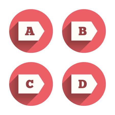 Energy Efficiency Class Icons. Energy Consumption Sign Symbols. Class A, B,  C