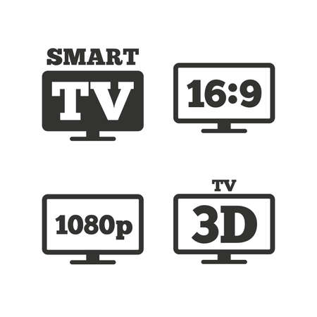 aspect: Smart TV mode icon. Aspect ratio 16:9 widescreen symbol. Full hd 1080p resolution. 3D Television sign. Flat icons on white. Vector