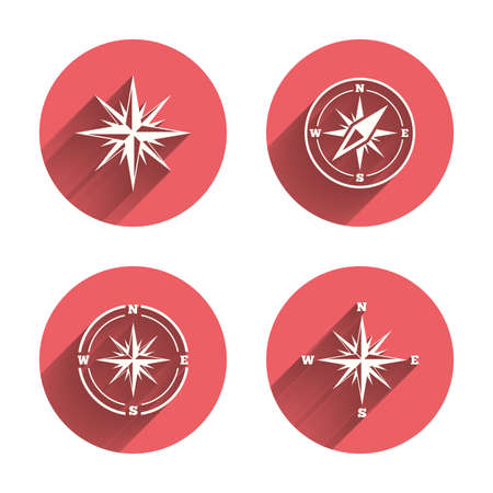 coordinate: Windrose navigation icons. Compass symbols. Coordinate system sign. Pink circles flat buttons with shadow. Vector Illustration