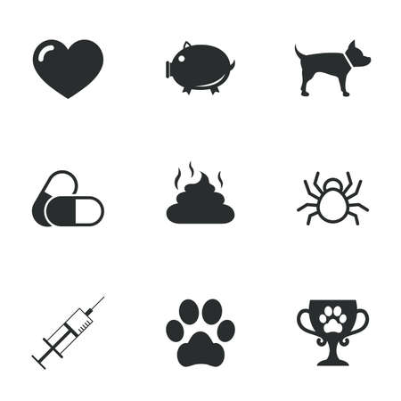 feces: Veterinary, pets icons. Dog paw, syringe and winner cup signs. Pills, heart and feces symbols. Flat icons on white. Vector