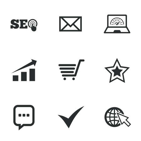 bandwidth: Internet, seo icons. Tick, online shopping and chart signs. Bandwidth, mobile device and chat symbols. Flat icons on white. Vector