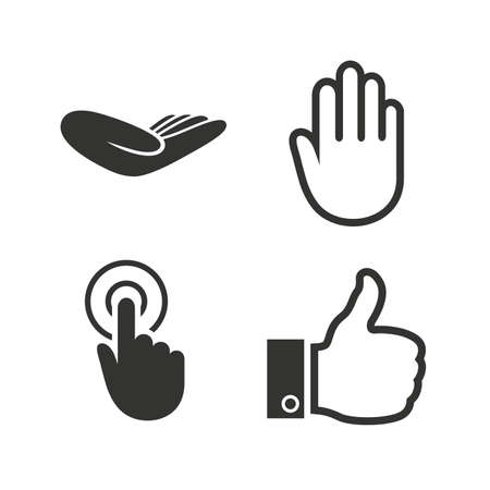 press button: Hand icons. Like thumb up symbol. Click here press sign. Helping donation hand. Flat icons on white. Vector Illustration