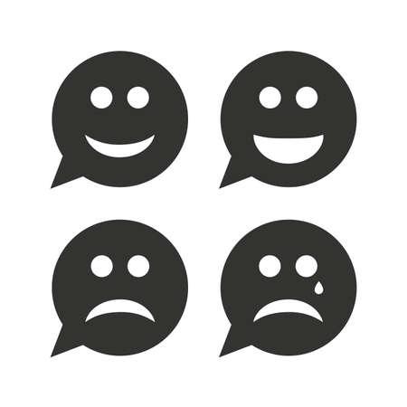 happy sad: Speech bubble fronte di sorriso icone. Felice, triste, piangere segni. Felice simbolo smiley chat. Depressione Tristezza e segni di pianto. Icone piane su bianco. Vettore