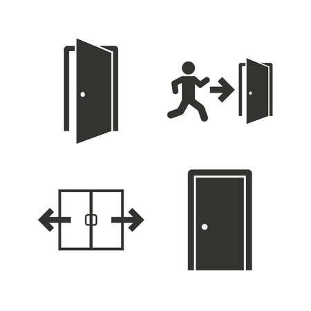 open door: Automatic door icon. Emergency exit with human figure and arrow symbols. Fire exit signs. Flat icons on white. Vector Illustration