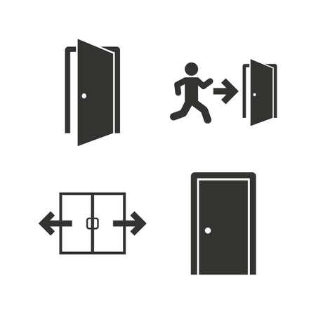 puerta: Icono autom�tico de la puerta. Salida de emergencia con s�mbolos de figuras y flechas humanos. Las se�ales de salida de incendios. Iconos planos en blanco. Vector