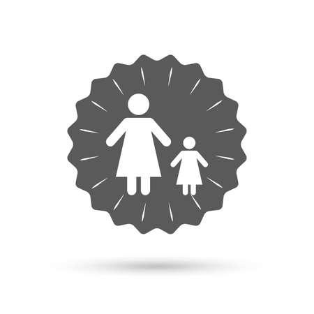 Medalla de Emblema de la vendimia. familia monoparental con el icono de signo de un niño. Madre con el símbolo hija. icono plano clásico. Vector Foto de archivo - 46464570
