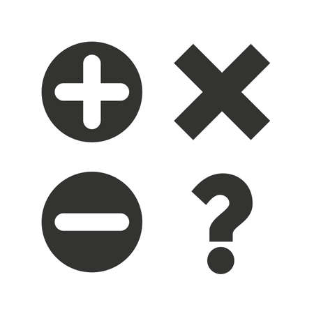 enlarge: Plus and minus icons. Delete and question FAQ mark signs. Enlarge zoom symbol. Flat icons on white. Vector