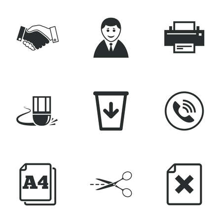 office documents: Office, documents and business icons. Printer, handshake and phone signs. Boss, recycle bin and eraser symbols. Flat icons on white. Vector