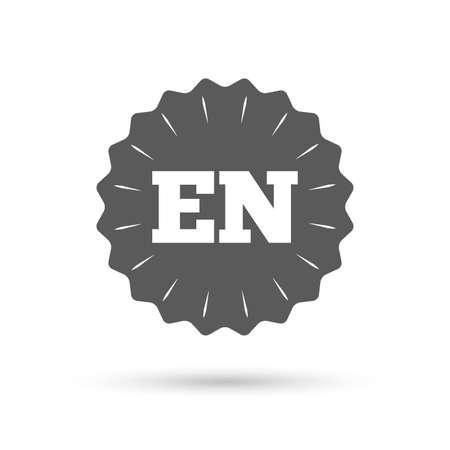 en: Vintage emblem medal. English language sign icon. EN translation symbol. Classic flat icon. Vector Illustration
