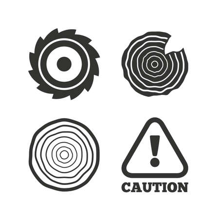 warning saw: Wood and saw circular wheel icons. Attention caution symbol. Sawmill or woodworking factory signs. Flat icons on white. Vector Illustration