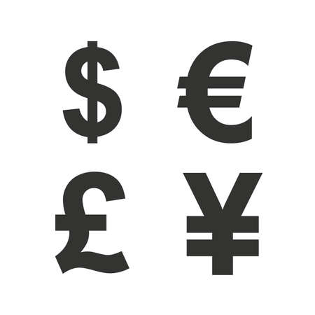 dinero euros: Dólar, Euro, Libra y los iconos de moneda de yenes. USD, EUR, GBP y símbolos de dinero signo yen. iconos planos en blanco. Vector