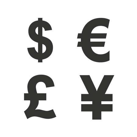 Dollar, Euro, Livre et Yen devises icônes. USD, EUR, GBP et JPY symboles de signe de l'argent. icônes plates sur blanc. Vecteur