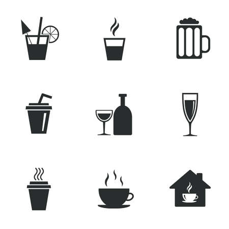 take away: Tea, coffee and beer icons. Beer, wine and cocktail signs. Take away drinks. Flat icons on white. Vector Illustration