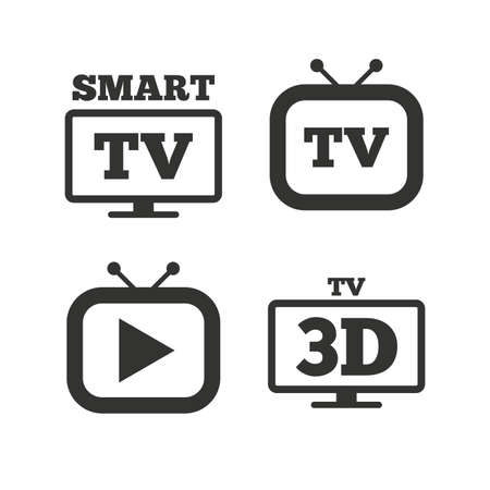 3d mode: Smart 3D TV mode icon. Widescreen symbol. Retro television and TV table signs. Flat icons on white. Vector
