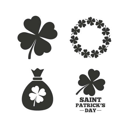 Saint Patrick day icons. Money bag with clover sign. Wreath of quatrefoil clovers. Symbol of good luck. Flat icons on white. Vector