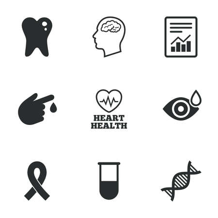 test: Medicine, medical health and diagnosis icons. Blood test, dna and neurology signs. Tooth, report symbols. Flat icons on white. Vector