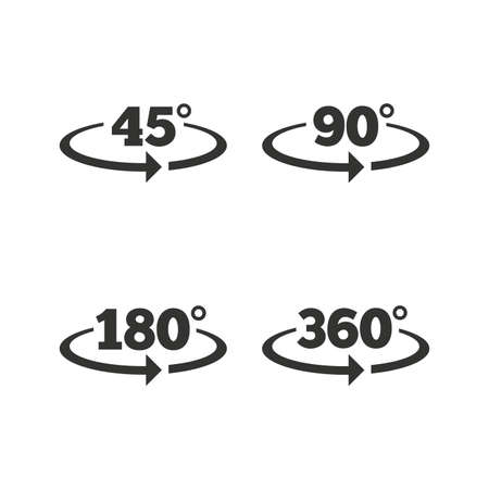 isolated background: Angle 45-360 degrees icons. Geometry math signs symbols. Full complete rotation arrow. Flat icons on white. Vector Illustration