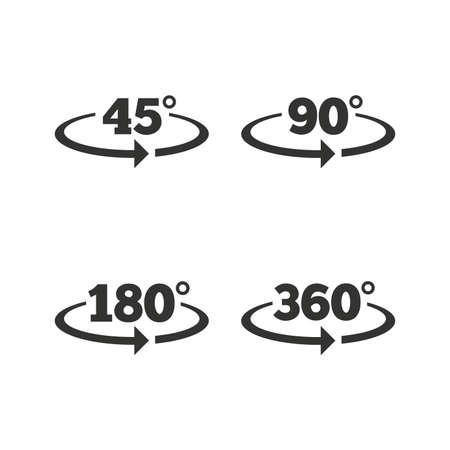 simbolos matematicos: �ngulo de 45 a 360 grados iconos. matem�ticas geometr�a se�ales s�mbolos. Plena rotaci�n completa de la flecha. iconos planos en blanco. Vector Vectores