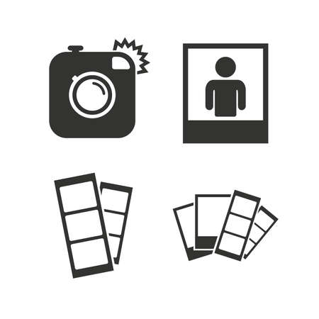 photo icon: Hipster photo camera icon. Flash light symbol. Photo booth strips sign. Human portrait photo frame. Flat icons on white. Vector