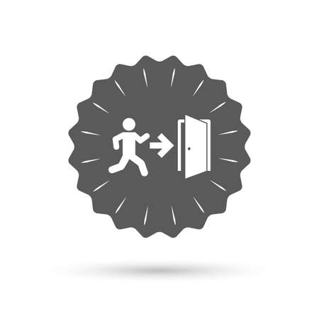 emergency exit icon: Vintage emblem medal. Emergency exit with human figure sign icon. Door with right arrow symbol. Fire exit. Classic flat icon. Vector Illustration