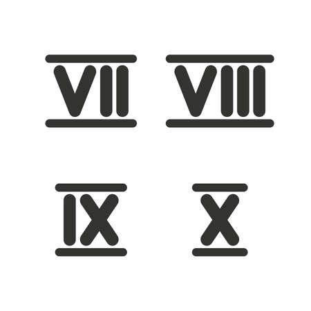 ancient rome: Roman numeral icons. 7, 8, 9 and 10 digit characters. Ancient Rome numeric system. Flat icons on white. Vector