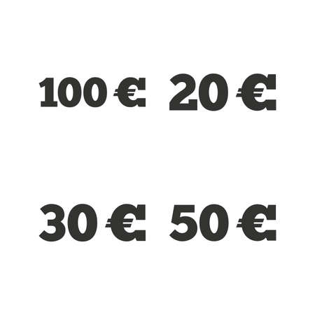Money in Euro icons. 100, 20, 30 and 50 EUR symbols. Money signs Flat icons on white. Vector Illustration