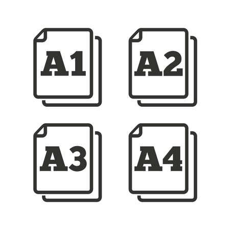 a2: Paper size standard icons. Document symbols. A1, A2, A3 and A4 page signs. Flat icons on white. Vector