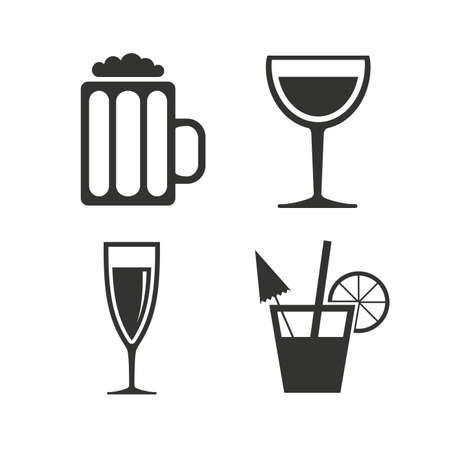 alcoholic drinks: Alcoholic drinks icons. Champagne sparkling wine and beer symbols. Wine glass and cocktail signs. Flat icons on white. Vector