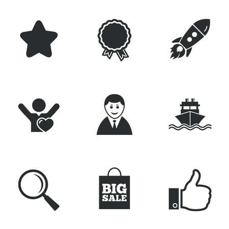 medal like: Online shopping, e-commerce and business icons. Start up, award and customers like signs. Big sale, shipment and favorite symbols. Flat icons on white. Vector