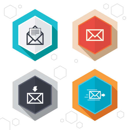 outbox: Hexagon buttons. Mail envelope icons. Message document delivery symbol. Post office letter signs. Inbox and outbox message icons. Labels with shadow. Vector Illustration