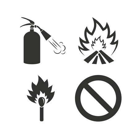 fire extinguisher symbol: Fire flame icons. Fire extinguisher sign. Prohibition stop symbol. Burning matchstick. Flat icons on white. Vector Illustration