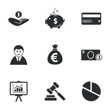 auction: Money, cash and finance icons. Piggy bank, credit card and auction signs. Presentation, pie chart and businessman symbols. Flat icons on white. Vector
