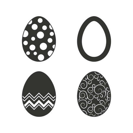 pasch: Easter eggs icons. Circles and floral patterns symbols. Tradition Pasch signs. Flat icons on white. Vector Illustration