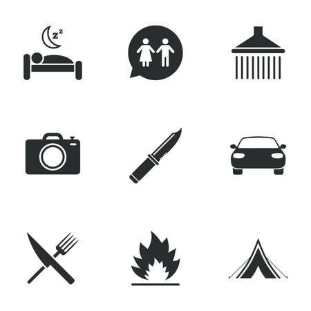 sleeping car: Hiking trip icons. Camping, shower and wc toilet signs. Tourist tent, fork and knife symbols. Flat icons on white. Vector