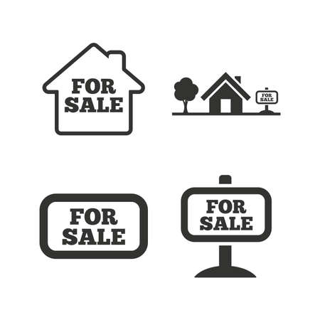 house for sale: For sale icons. Real estate selling signs. Home house symbol. Flat icons on white. Vector
