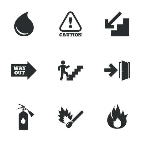 emergency attention: Fire safety, emergency icons. Fire extinguisher, exit and attention signs. Caution, water drop and way out symbols. Flat icons on white. Vector