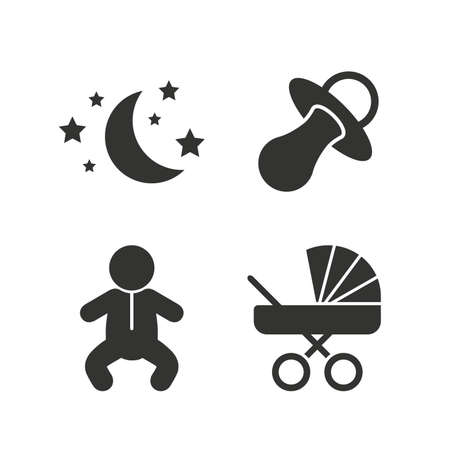 infants: Moon and stars symbol. Baby infants icon. Buggy and dummy signs. Child pacifier and pram stroller. Flat icons on white. Vector