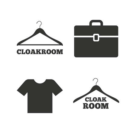 shopping bag icon: Cloakroom icons. Hanger wardrobe signs. T-shirt clothes and baggage symbols. Flat icons on white. Vector Illustration
