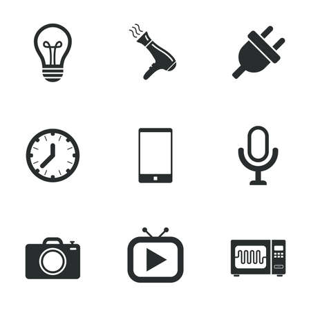 Home appliances, device icons. Electronics signs. Lamp, electrical plug and photo camera symbols. Flat icons on white. Vector