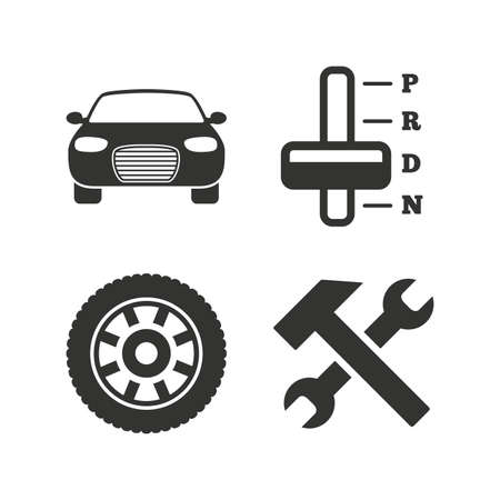 automatic transmission: Transport icons. Car tachometer and automatic transmission symbols. Repair service tool with wheel sign. Flat icons on white. Vector Illustration