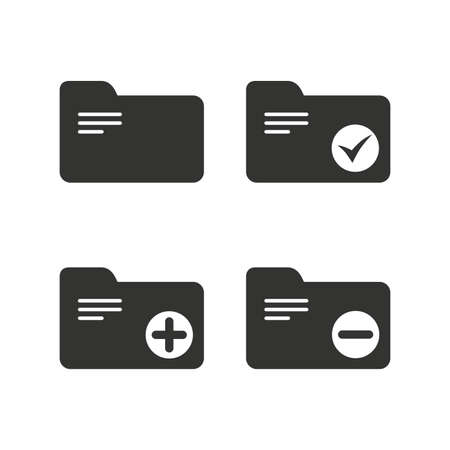 checkbox: Accounting binders icons. Add or remove document folder symbol. Bookkeeping management with checkbox. Flat icons on white. Vector