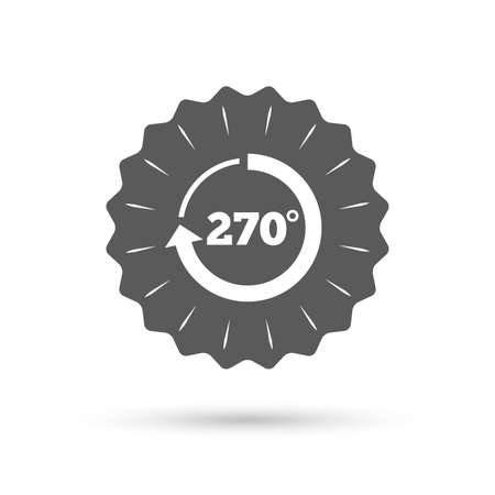 seventy two: Vintage emblem medal. Angle 270 degrees sign icon. Geometry math symbol. Classic flat icon. Vector