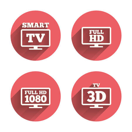 3d mode: Smart TV mode icon. Widescreen symbol. Full hd 1080p resolution. 3D Television sign. Pink circles flat buttons with shadow. Vector Illustration