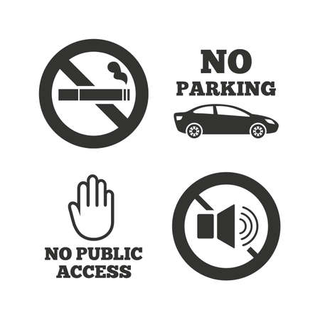 speaker: Stop smoking and no sound signs. Private territory parking or public access. Cigarette and hand symbol. Flat icons on white. Vector