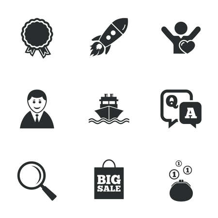 medal like: Online shopping, e-commerce and business icons. Startup, award and customers like signs. Cash money, shipment and sale symbols. Flat icons on white. Vector